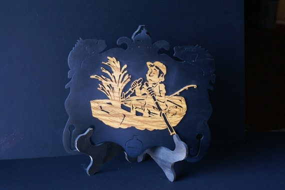 Fisherman Sinking Boat Wood Scroll Saw Plaque
