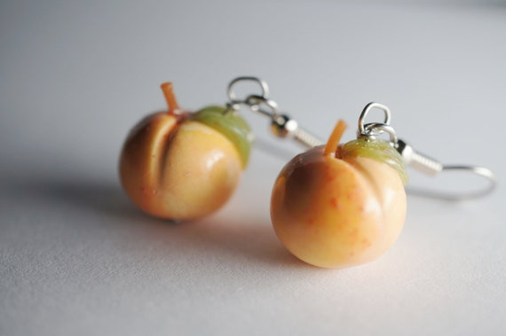 Peach Earrings Miniature Food Jewelry Polymer Clay Food Earrings
