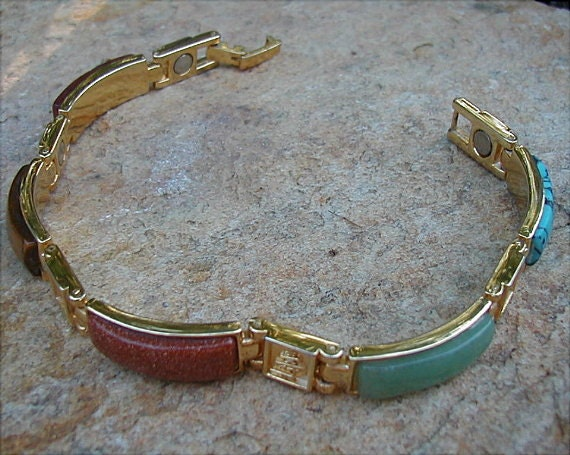 Oriental Design Glass Stone Variety Bar Bracelet