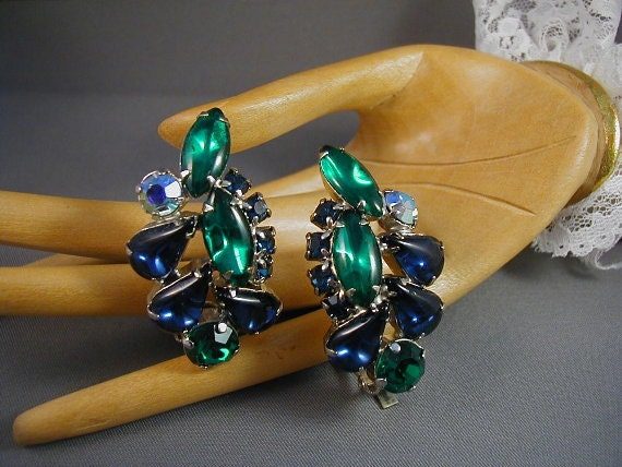 Vintage Emerald and Sapphire Rhinestone Earrings