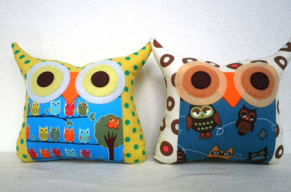 NEW/Two  polyfil Stuffed owl family little owl pillows decoration/collection - Ready to ship