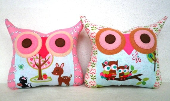 NEW / TWO/Polyfil Stuffed little owl pillows decoration/collection - Ready to ship