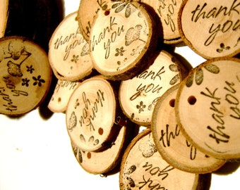60 Wooden Tree Branch Charms Thank You Tags Bag Tags