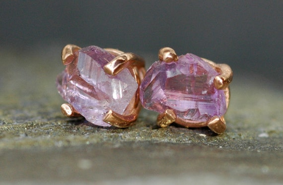 Rose de France Raw Amethyst in 14k Rose Gold Earrings- Reserved