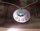 Handstamped Bloom Necklace with Blue Flower charm