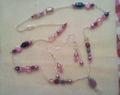 Pink and Amethyst glass seed mix Necklace and Earring set New Hand made