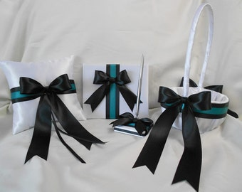 Wedding Accessories White Black Teal Flower Girl Basket Ring Bearer Pillow Guest Book Your Colors WeddingsByMinali
