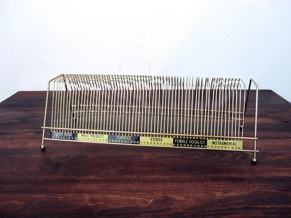 Vintage Wire, Brass Finish 60 Record Holder / Retro Vinyl Record Stand
