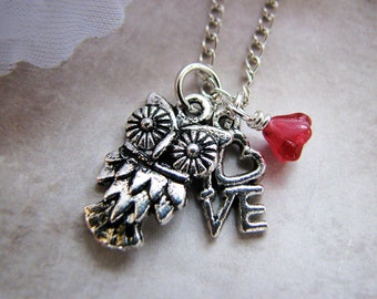 Love Owl - Tibetan Silver Charm Necklace