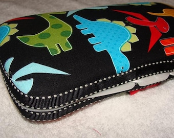 Designer Travel Wipes Case with Diaper Strap- Dinos on Black