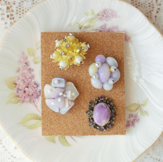 Soft Purple and Yellow Vintage Jewelry Thumbtacks / Push Pins Mini Set