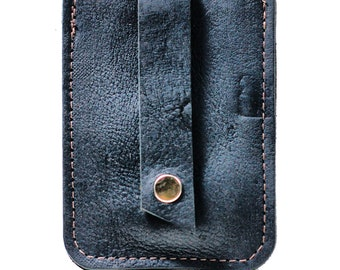 Skinny Leather Wallet - Slim Pop-Up Business Card Holder and Credit Card Wallet