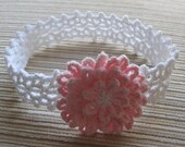 Instant Download Crochet Pattern #85 White Lacy Headband with a PInk Flower