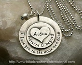 NEW I Love You To The Moon and Back Infinity & Beyond w/ One Name and Heart Stacked on Top Hand Stamped Necklace
