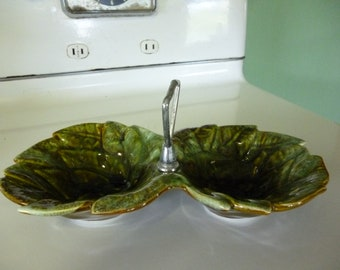 Vintage Double Leaf Motif CALIF Tidbit Tray with Metal Handle
