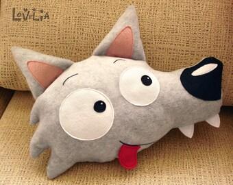 Plush Wildo the Wolf -Decorative plush pillow -