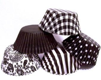 60 Black  Cupcake Liner Assorment