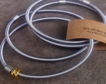 Recycled Bass Strings - Restored Bass Strings Bangles by Doni Blair of TheToadies