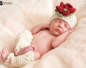 Ivory Beanie and Leg Warmer Newborn Photo Prop Made Upon Ordering