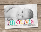 Birth Announcement : Hello Olivia Baby Girl Custom Photo Birth Announcement