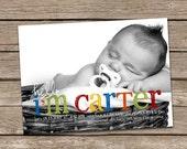 Birth Announcement : Hello Carter Baby Boy Custom Photo Birth Announcement
