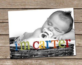 Birth Announcement : Hello Carter Baby Boy Custom Photo Birth Announcement