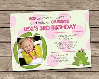 Frog Birthday Invitation - Girl or Boy