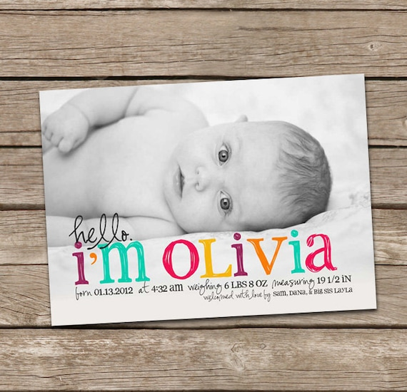 Birth Announcement : Hello Olivia Baby Girl Custom Photo Birth Announcement - Baby Announcement - Hello Baby - Photo Announcement