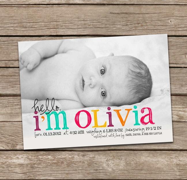 Birth Announcement Hello Olivia Baby Girl Custom Photo Birth – Birth Announcement Email Template