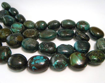 LARGE real turquoise smooth nuggets full strand