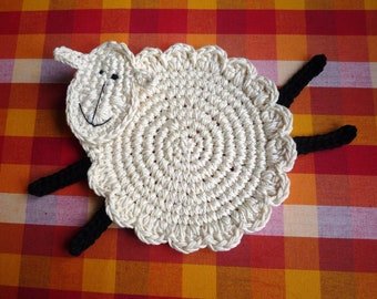 Crochet Sheep Coaster Pattern - Sheep Pattern - Lamb Pattern - Farmhouse Decor - Lamb Coaster Pattern - Sheep Coaster - Home Decor