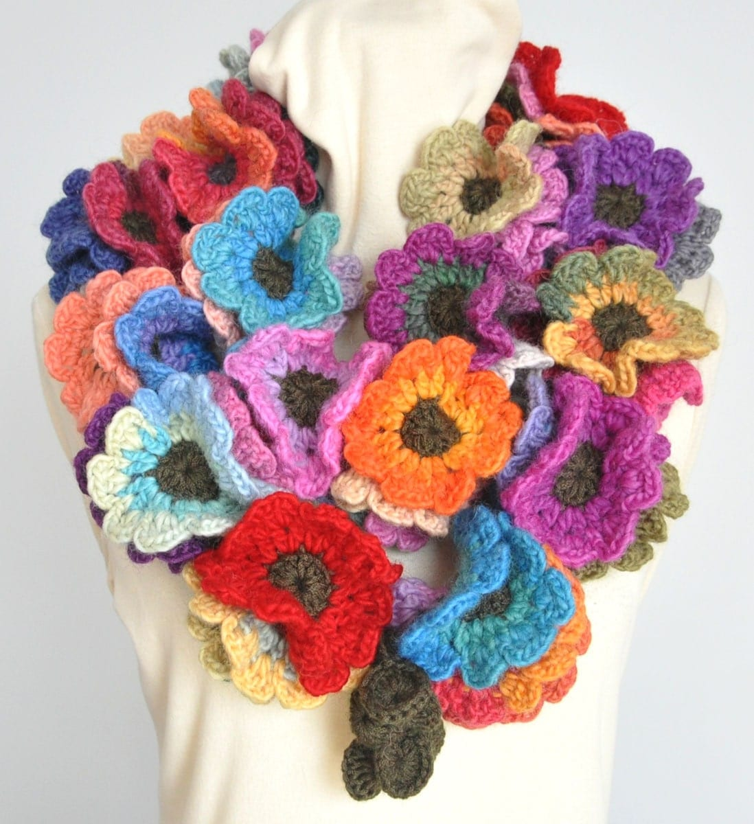 Floral Fall Long Multicolor Crochet Flowers long by jennysunny Crochet Flower Scarves