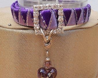 Designer Kitten Collars in Pretty Purple Braided Ribbon