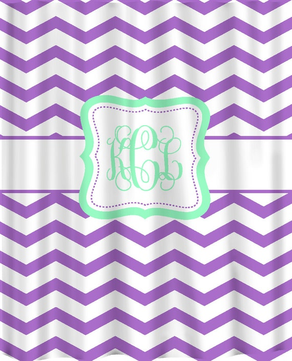 Personalized Chevron Pattern Shower Curtain Purple By Redbeauty