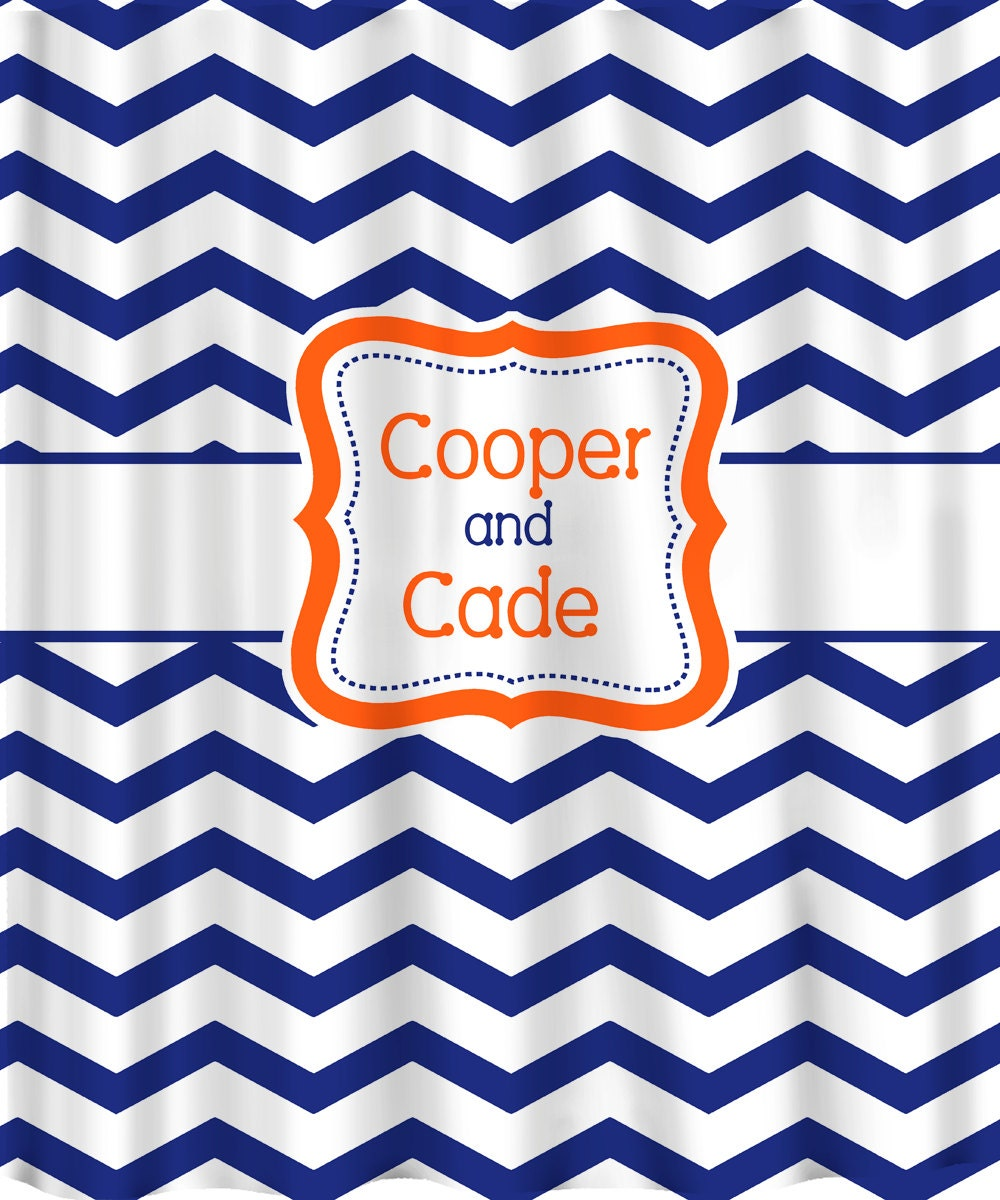 Personalized Shower Curtain Chevron Shown Here In By Redbeauty