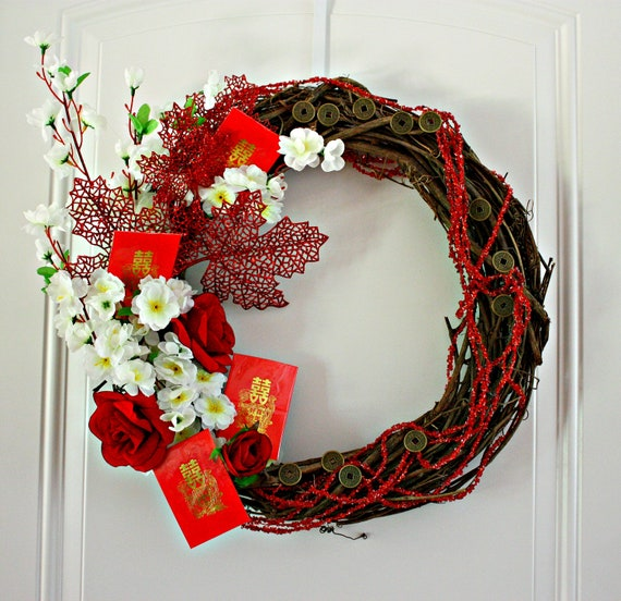Chinese New Year  Wreath - Celebrate China Lunar Year Festival by Mei Faith