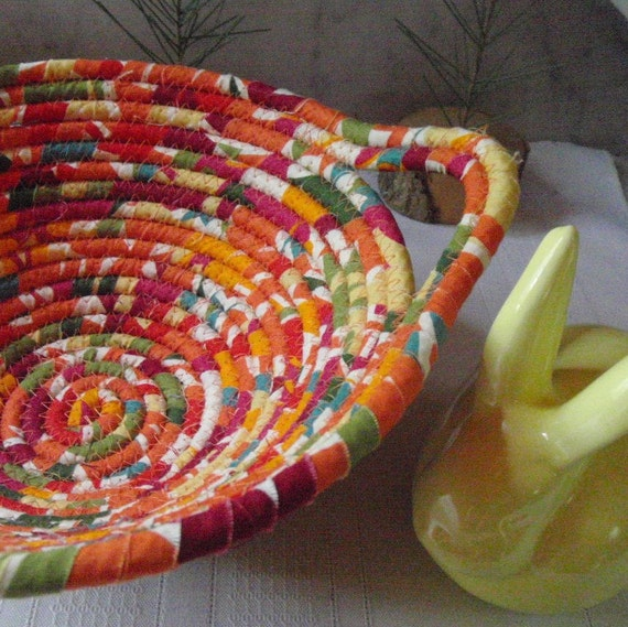 Coiled Fabric Basket - Mango Tango