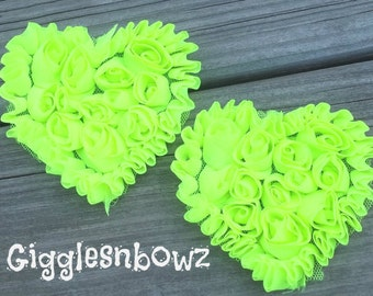 NeW SMaLLeR SiZE- Set of 2 Beautiful Shabby Chic Chiffon HEART Appliques- NEON BRiGHT GReeN  3 inch