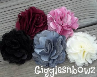 NEW Set of FIVE Beautiful Satin and Tulle Puff Flowers