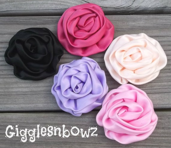 Set of 5 Beautiful SWIRL Satin Rosette Puffs- one of each color
