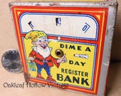 Vintage Tin Toy Dime Bank Thrifty Elf