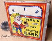 Vintage Tin Toy Dime Banque Elf économe