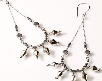 Chandelier Earrings Silver Spikes and Chain on Sterling Silver French Ear Wire