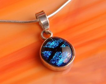 Handmade Dichroic Fused Glass and Sterling Silver .925 Pendant Necklace