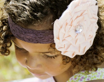 RUTH - plum and peach lace ruffle rose headband