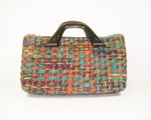Vintage woven jute handbag with wooden handles