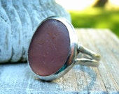 FADED VIOLET Sea Glass Ring - Genuine English Seaglass - Sterling Silver - Size 7-1/8