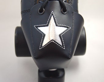 Roller Derby DA-45 Leather Skate Toe Guards with Silver Stars -- Or Choose Your Own Color!