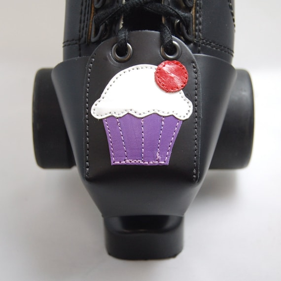 Leather Toe Guards with Purple and White Cupcakes