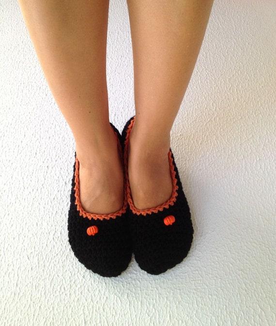 Halloween Tangerine tango Black Crochet Womens Slippers, Ballet Flats, House Shoes